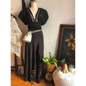 Vintage elaborate sleeves black lace slip dress